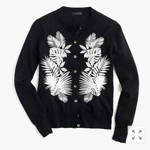 J Crew Embroidered Palm Jackie Sweater